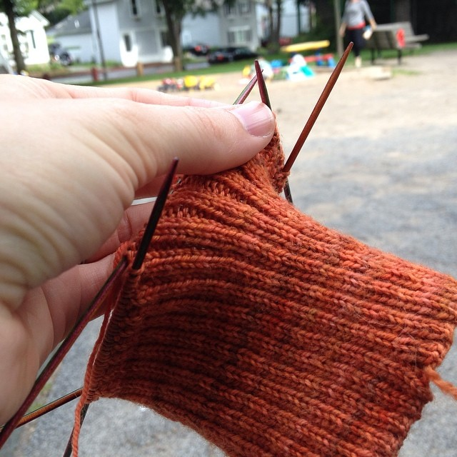 Knitting at the playground on a gorgeously cool summer morning :)