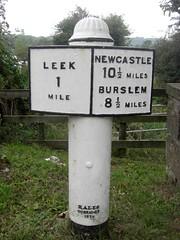 Leek Milepost Wall Bridge Staffs SJ973551