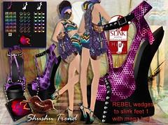 ShuShu REBEL wedge heels to slink feet with mega hud - rigged mesh for high slink feet