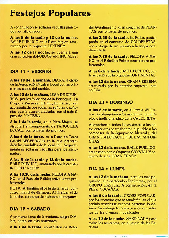 Programa Fiestas de San Lorenzo Año 1989