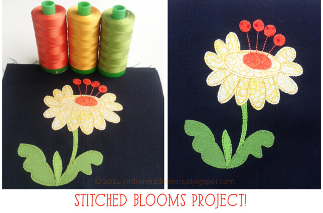 Indianna Dreams project using a pattern from Stitched Blooms