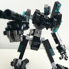 black and blue mech