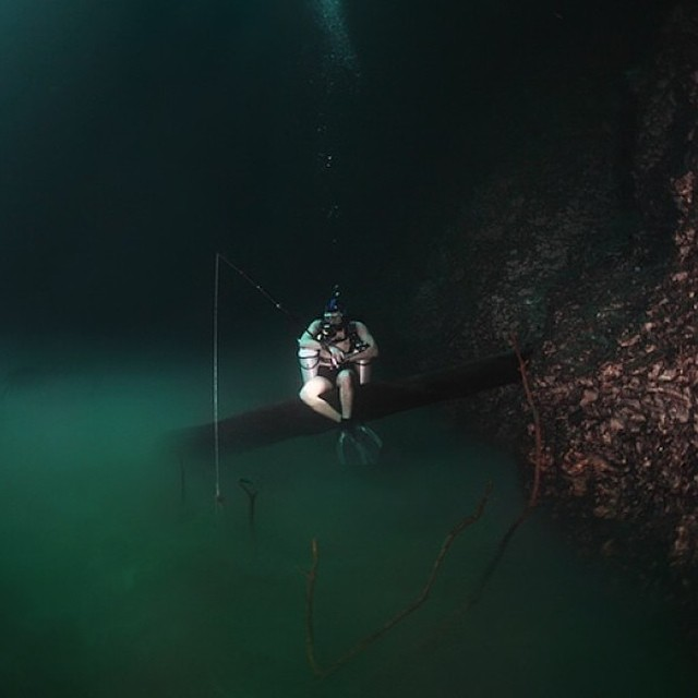 Underwater River  Location: Cenote Angelita (Little Angel), Mexico  Cenote Angelita is surreal diving experience. Located on the Yucatan Peninsula 15 minutes from Tulum, the site is an advanced cave dive.    This natural formation looks and flows like an