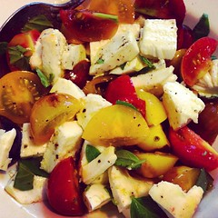 It's so humid in NYC right now that I'm chowing on a tomato, basil & mozzarella salad for breakfast