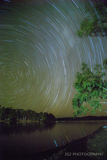 Star trails at east lychart lake 35km east of Mount Isa