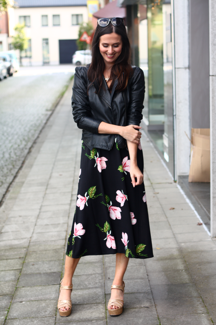 leather jacket floral dress gold wedges