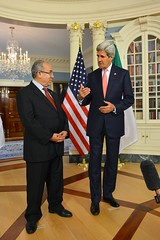U.S. Secretary of State John Kerry and Algerian Foreign Minister Ramtane Lamamra address reporters before their bilateral meeting at the U.S. Department of State in Washington, D.C., on September 18, 2014. [State Department photo/ Public Domain]
