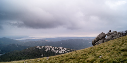 mountain storm fog clouds landscape hiking croatia trail