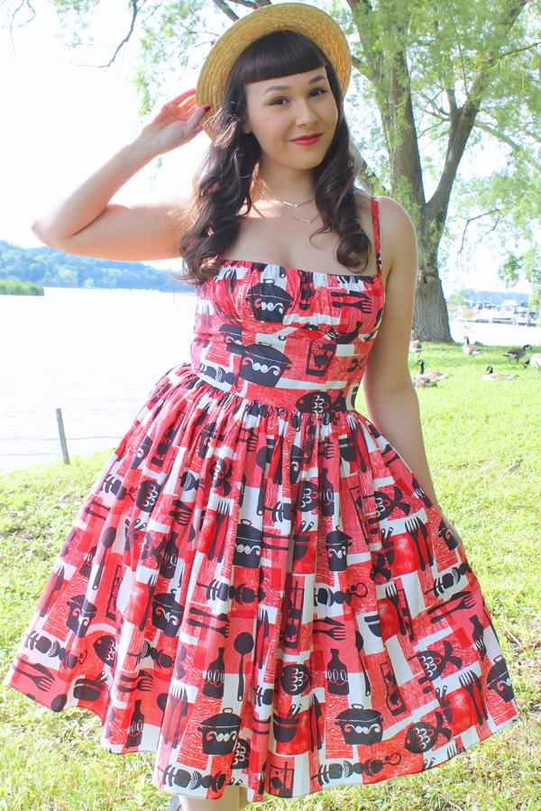 bbq print dress