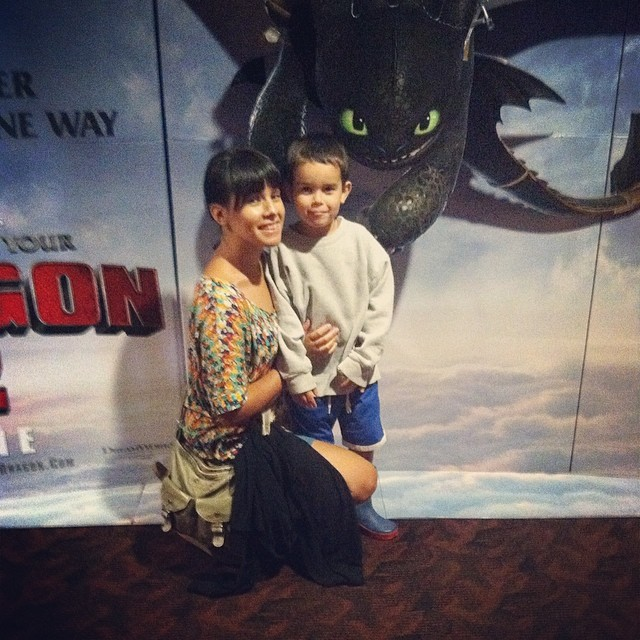 Took the dudes to see how to train your dragon 2 - Owen was the only willing one to take a pic with me. :) he's my cutie!