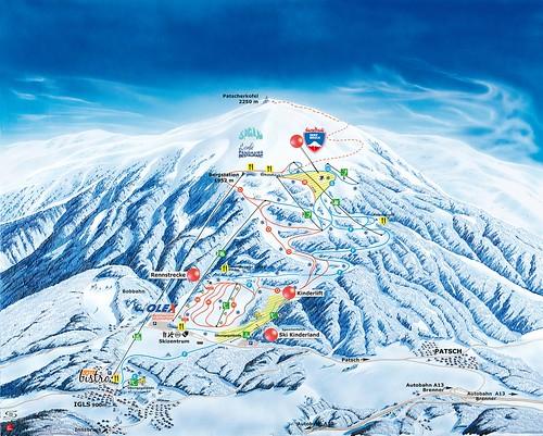 Innsbruck - Patscherkofel - mapa sjezdovek