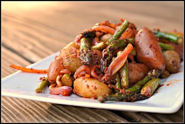 Smoky Potatoes with Asparagus and Chorizo 2