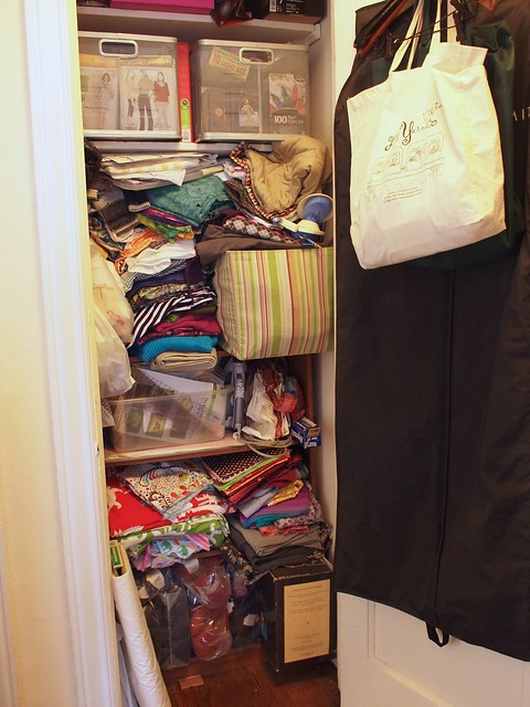 The mostly apparel fabric closet.