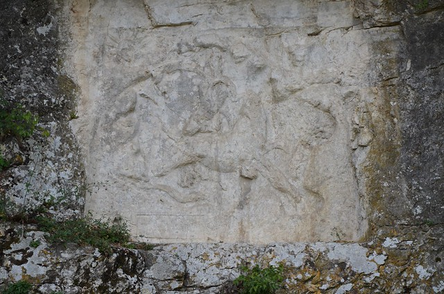 Bas-relief dedicated to the god Mithras (CIMRM 895), sculpted in the rock, 3rd century AD, Bourg-Saint-Andéol, France