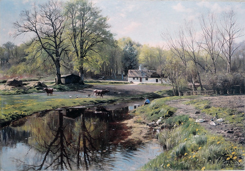 Peder Mørk Mønsted – private collection.  A Quiet Moment, Bromölle (1924)