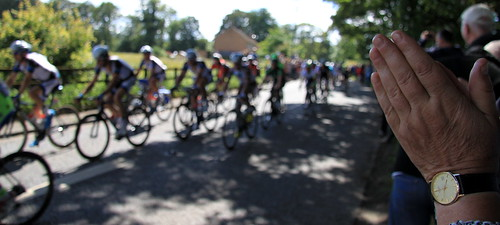 The Tour de France in Masham - applause from Janet!
