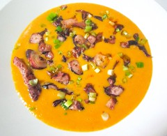 POTATO AND CARROT CREAM WITH SPICY OCTOPUS