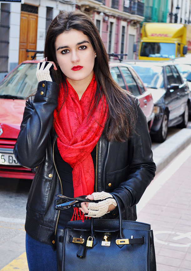 something fashion valencia blogger vintage biker birkin hermes bag spain, leather jacket mango rebel outfit skinny jeans