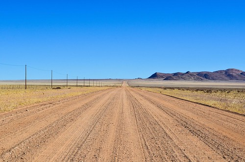 On the gravel roads of the Namib desert