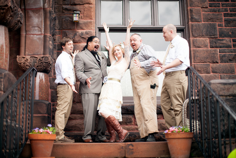Bethany with the groomsmen, June 2014
