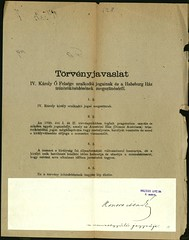 """0037. Törvényjavaslat """"IV. Károly Ő Felsége uralkodói jogainak és a Habsburg Ház trónörökösödésének megszűnéséről"""". Mellette a Nemzetgyűlés közjogi bizottságának jelentése a törvényjavaslatról"""