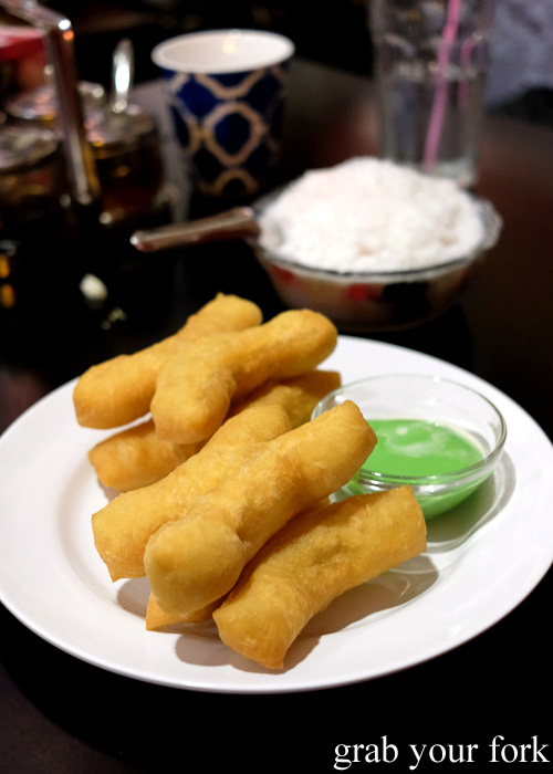 Deep-fried bread stick donuts with pandan custard at Do Dee Paidang, Haymarket Chinatown Sydney