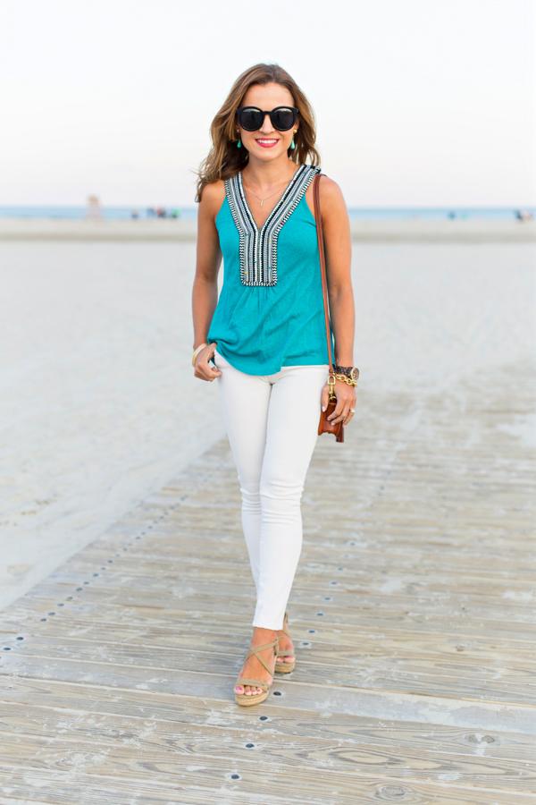 Turquoise + white denim
