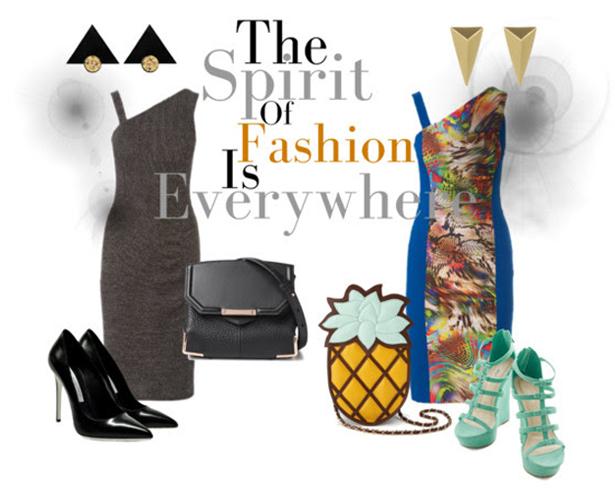 Asymmetric fashion collage