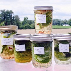 pickling, mason jar, herb, produce, food preservation, food,