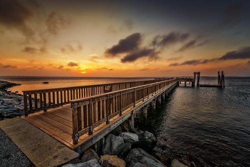 ocean ri sunset summer bristol pier fishing long unitedstates newengland rhodeisland coltstatepark