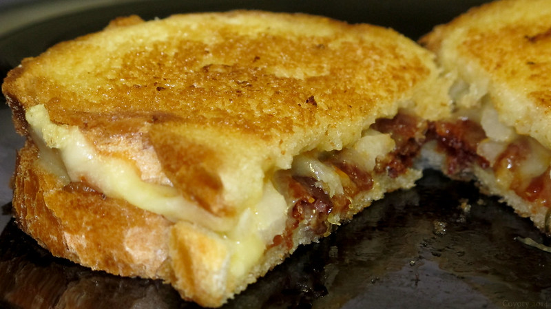 Grilled pepperjack, bacon, and onion sandwich