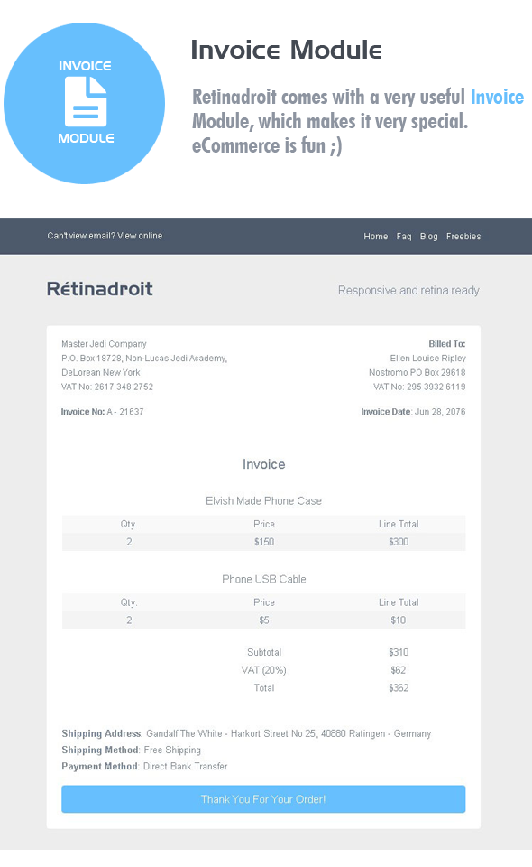 Responsive Email Template Invoice Template Mailchimp Email - Invoice template html