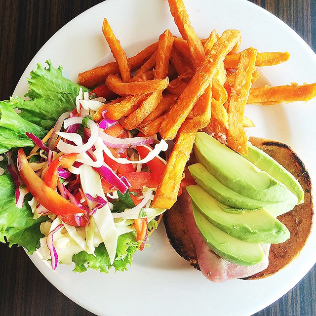 Ahi tuna burger and sweet potato fries from Galaxy Cafe
