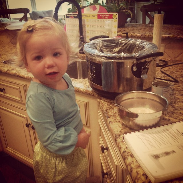 I hope my little sous chef always wants to help me in the kitchen.