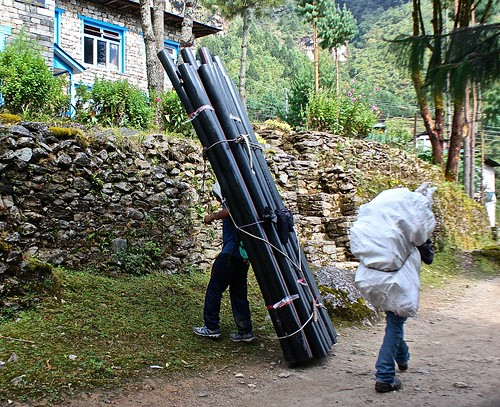 the Sherpas carried everything. Sometimes Yaks and Donkeys, but usually humans