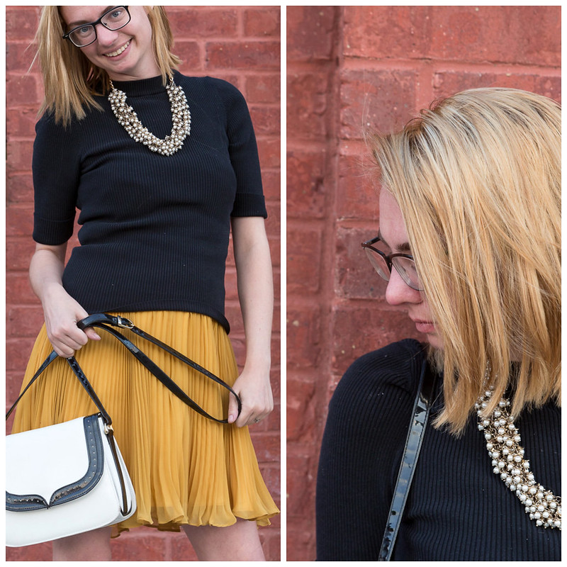 skirt, pleated, yellow, black, sweater, the giver, never fully dressed, withotuastyle, pealrls