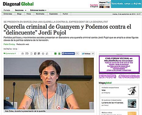 14i03 Diagonal Querellas contra Pujol y la clase políitca catalana