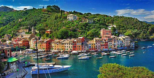 view of Portofino - beautiful town of Ligurian coast, Italy