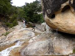 Descente de la Purcaraccia après le ravin en V : le départ du canyoning