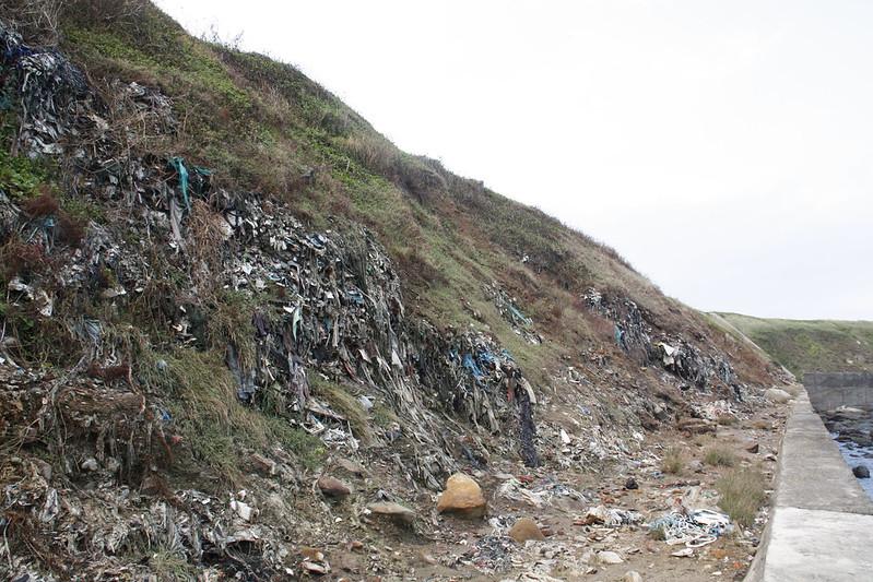 垃圾填埋高度明顯高出堤防許多。攝影:洪郁婷