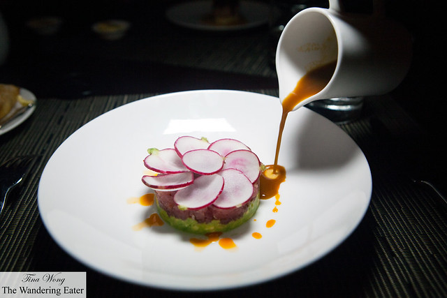 Tuna Tartar, Avocado, Spicy Radish pouring the ginger dressing