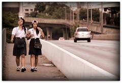 'Let's walk like models!' – Taksin Bridge, Bangkok, Thailand