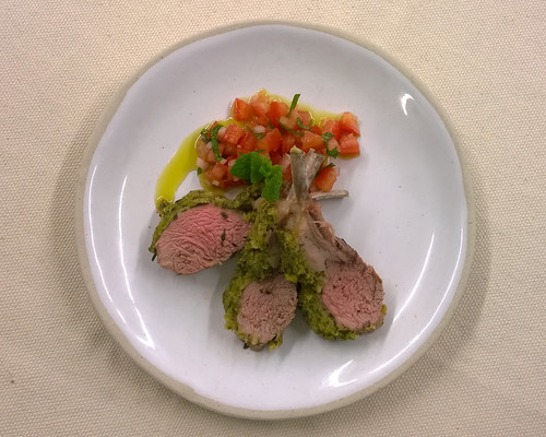 Rack of Lamb with Mustard and Breadcrumbs and Tomato and Mint Salsa