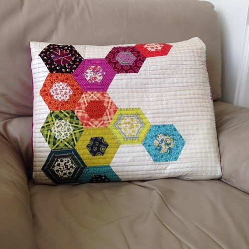 Beautiful pillow I received from the #modernshemadeswap  Made by beadqueene