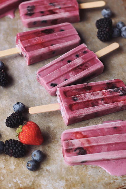 Summer Berry-Coconut Milk Ice Pops