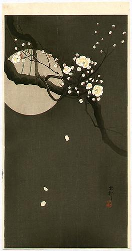 024-Flores de ciruelo en la noche-1930-Ohara Koson -via-Ukiyu-e-org