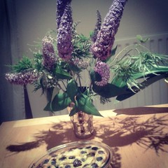 Hello #Summer ! Fresh #flowers from the garden and a #cherry #clafoutis