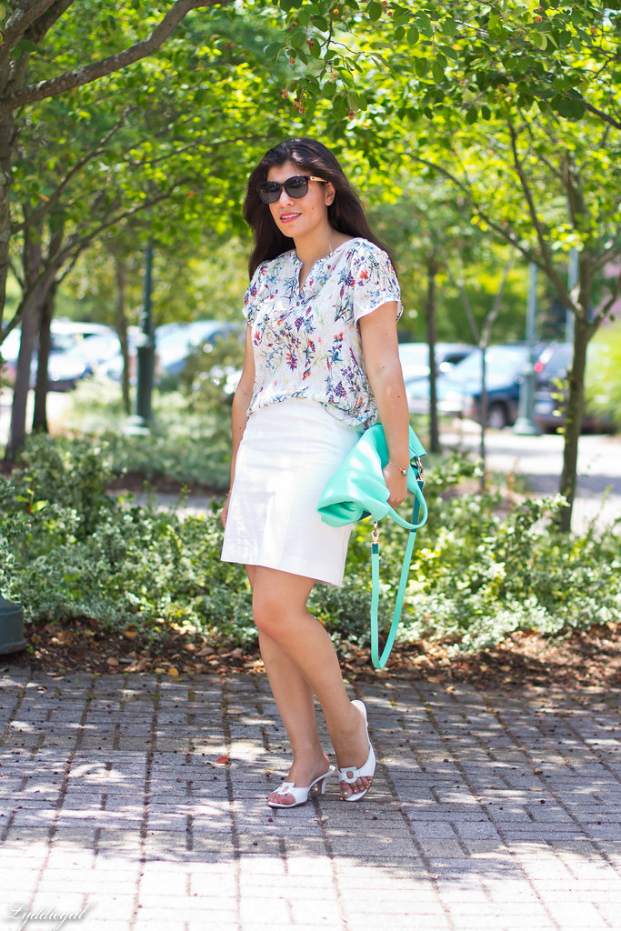 botanical print blouse, white skirt.jpg
