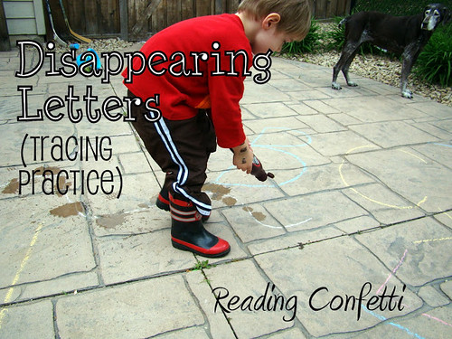 Disappearing Letters - Tracing Practice (Photo from Reading Confetti)