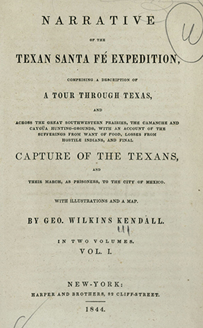 Title page, George Wilkins Kendall's <i>Narrative of the Texan Santa Fe Expedition</i>, 1844